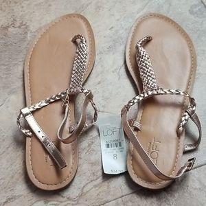 NEW Ann Taylor LOFT Rose Gold Sandals 8